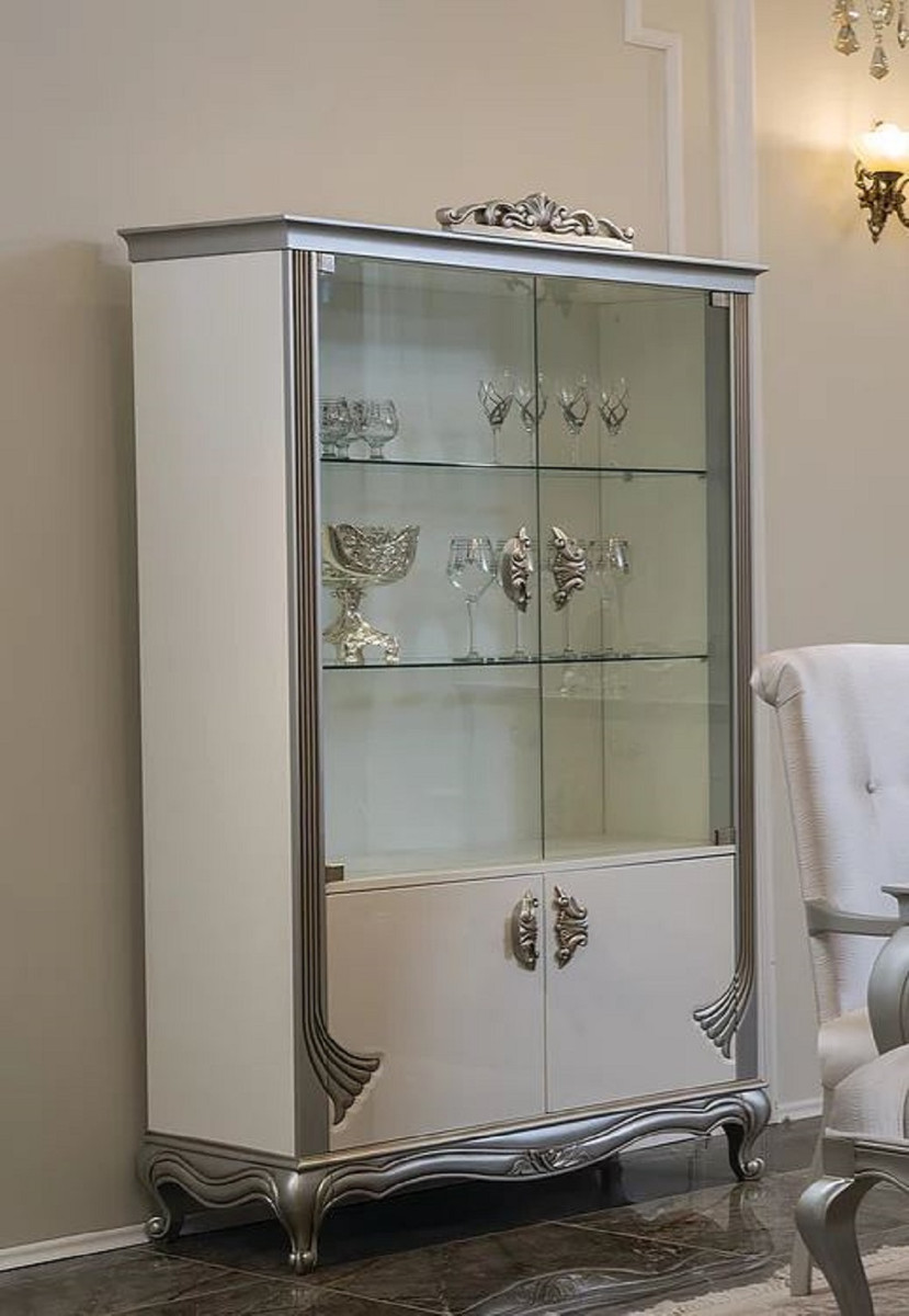 Casa Padrino luxury baroque display cabinet white / silver 20 x 20 x H.  20 cm   Noble solid wood display cabinet with 20 doors   Baroque Furniture