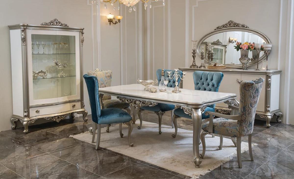 Casa Padrino Credenza Barocco Di Lusso Con Specchio Bianco Argento Elegante Armadio In Legno Massello Con Specchio A Parete Mobili Barocchi Casa Padrino De