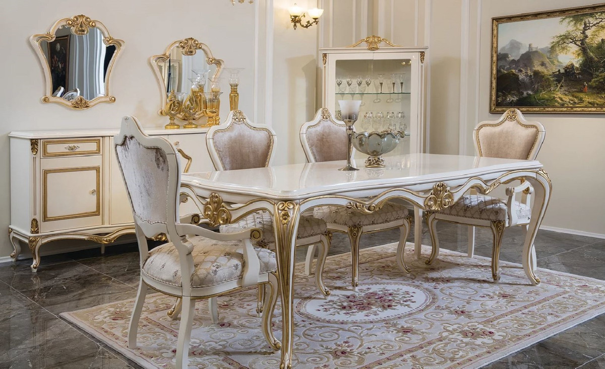Casa Padrino Luxury Baroque Dining Room, White And Gold Dining Room Set