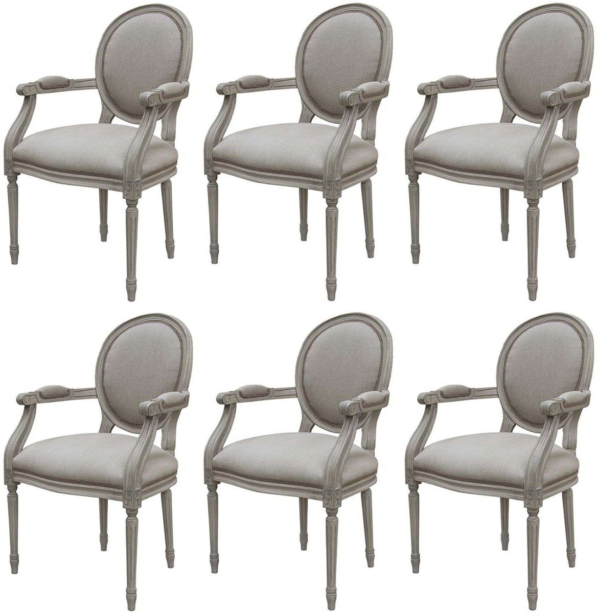 Casa Padrino Luxury Baroque Dining Room Chair Set Medallion Gray 57 X 50 X H 95 Cm Handmade Dining Room Chairs With Armrests In Baroque Style Baroque Dining Room Furniture Luxury Quality