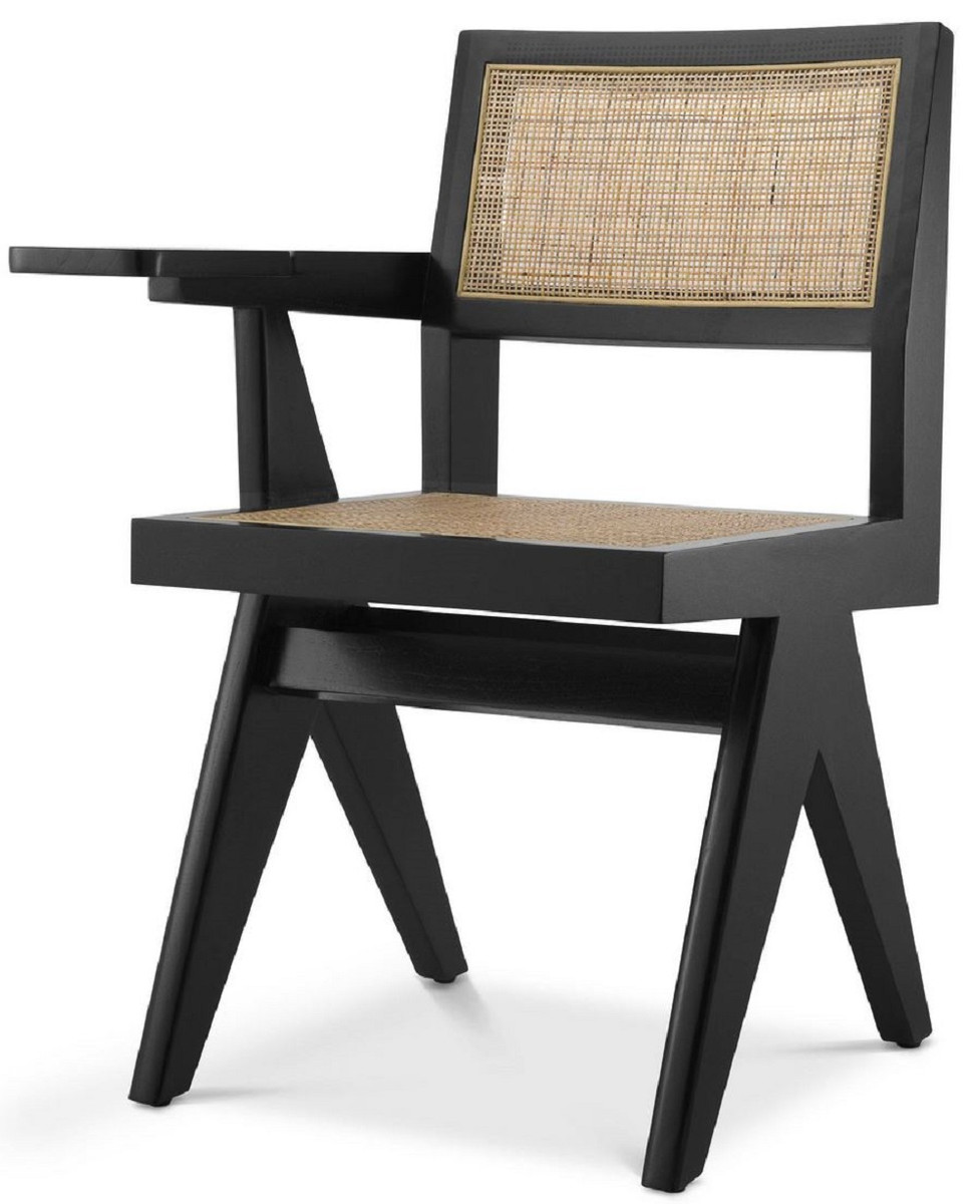 Casa Padrino Luxury Office Chair Black Natural 44 X 54 X H 85 5 Cm Solid Wood Chair With Rattan Wickerwork And Shelf Luxury Office Furniture