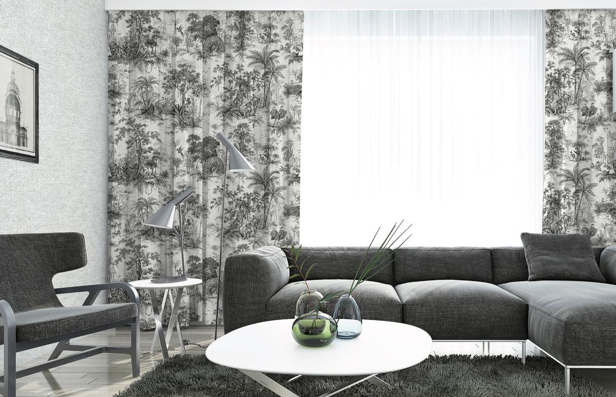 Casa Padrino Luxury Curtain Set Jungle White Black 250 X H 290 Cm Printed Linen Velvet Curtains Eyelet Curtains Sliding Curtains Living Room Bedroom Curtains