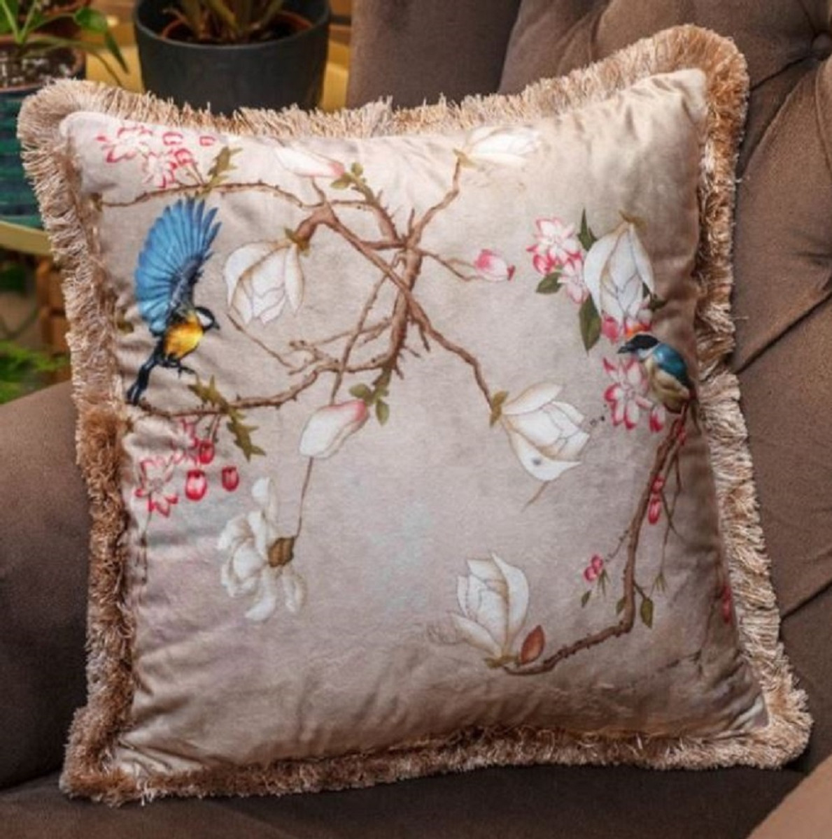 Casa Padrino Luxury Decorative Pillow Birds Beige Multicolor 45 X 45 Cm Printed Velvet Pillow With Fringes Living Room Decoration Accessories