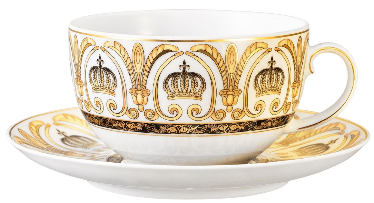 Harald Gloockler Pompoos Milk Coffee Cup With Saucer Crown White Gold Designed By Harald Gloockler