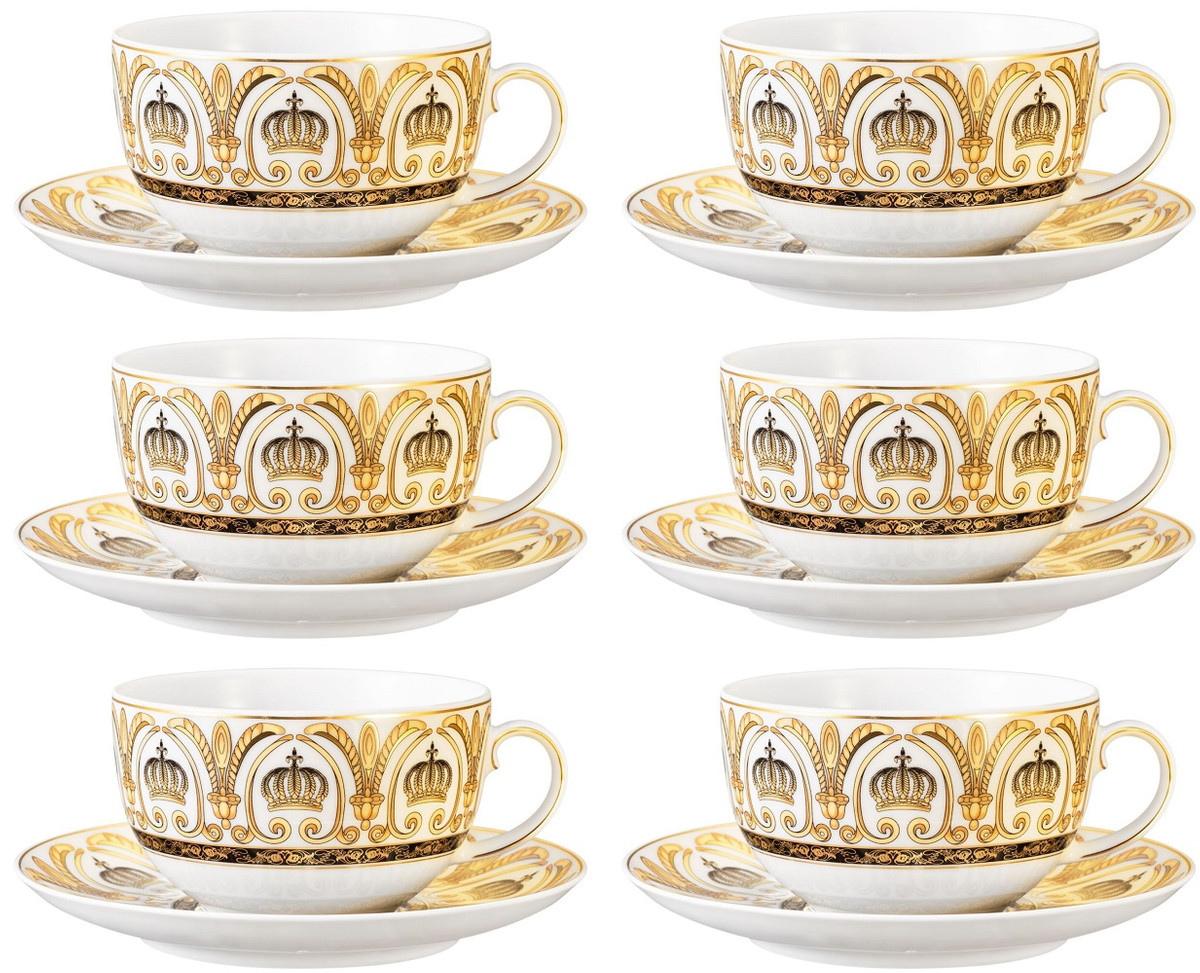 Harald Gloockler Pompoos Milk Coffee Cups With Saucers Set Crown White Gold Designed By Harald Gloockler