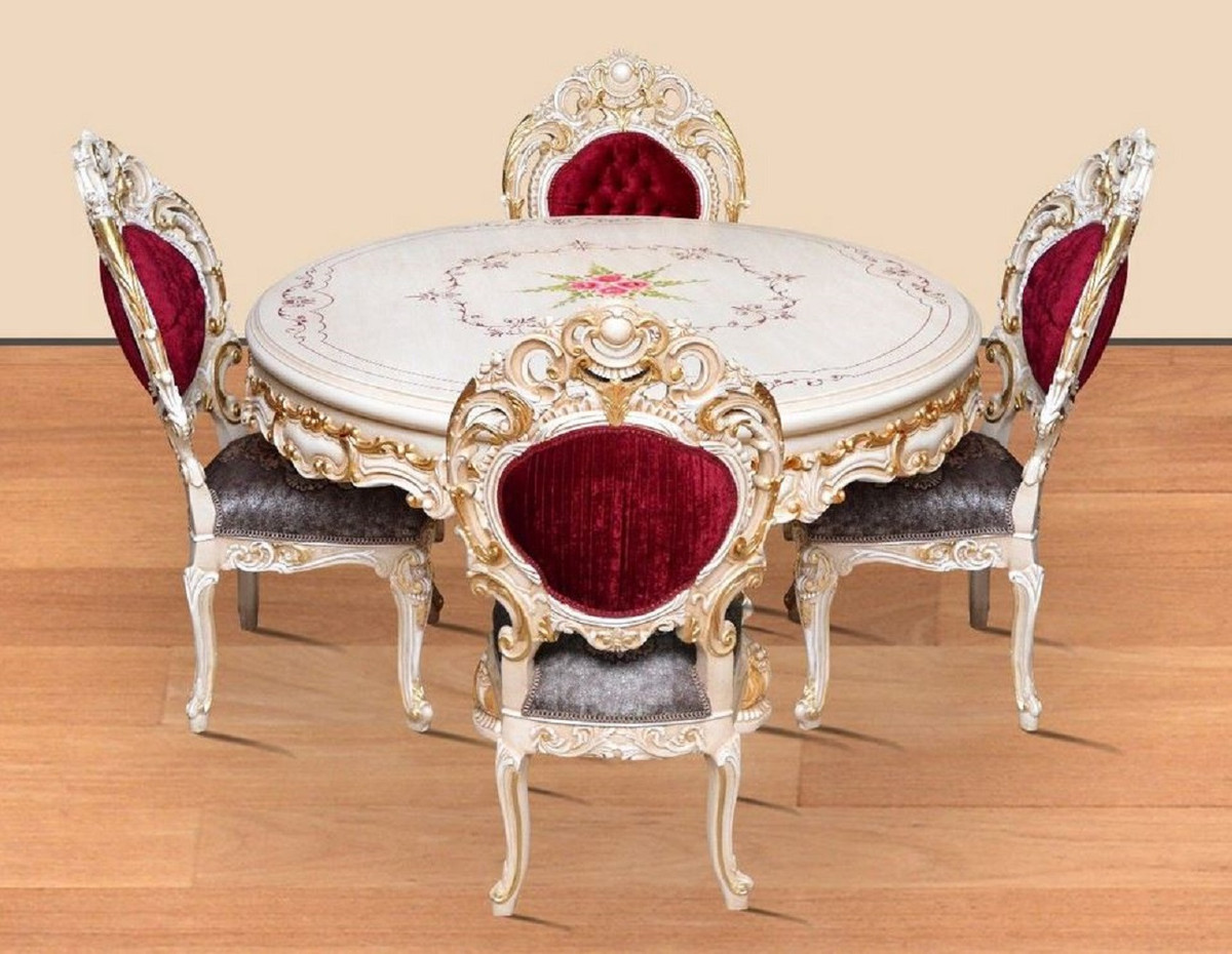 Casa Padrino baroque dining room set bordeaux red / gray / white / gold   9  Round Dining Table & 9 Dining Chairs   Magnificent dining room furniture ...