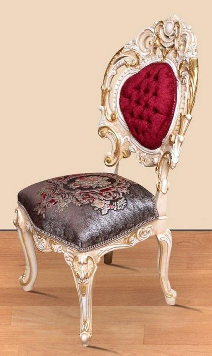 Casa Padrino Set Da Sala Da Pranzo Barocco Rosso Bordeaux Grigio Bianco Oro 1 Tavolo Da