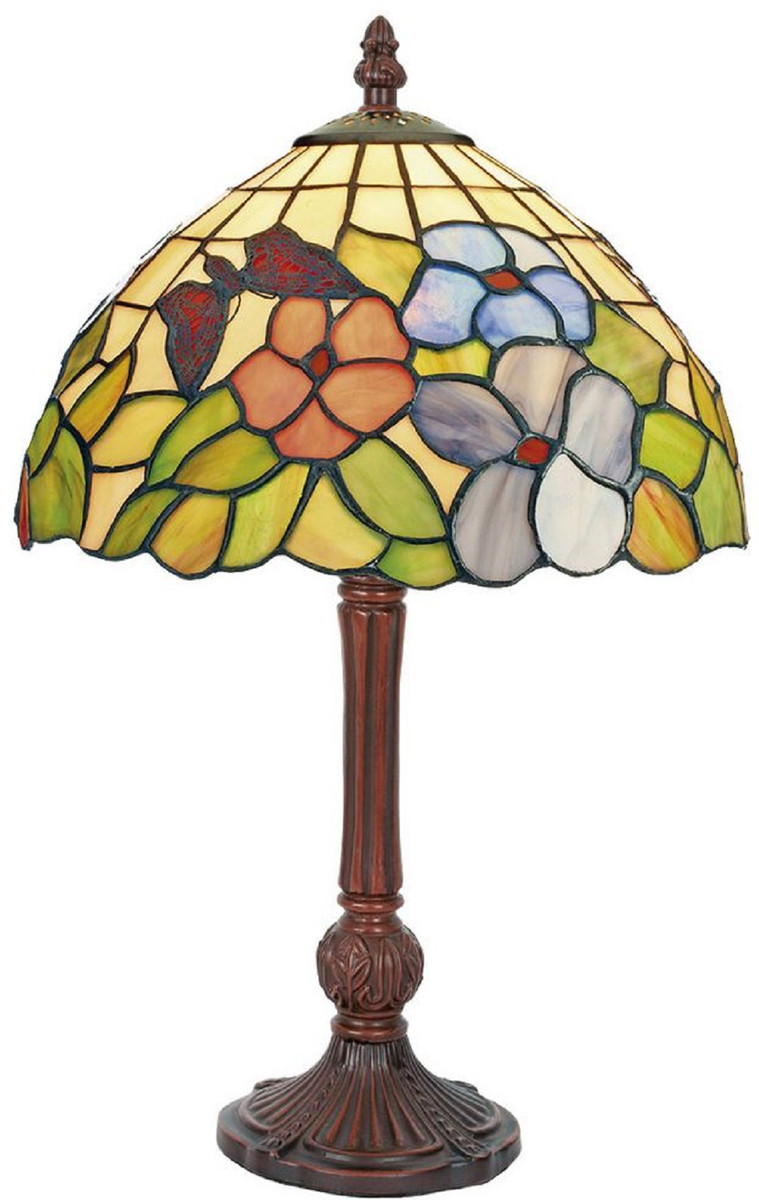 Casa Padrino Lampada Da Tavolo Tiffany Di Lusso Multicolore Marrone O 25 X A 42 Cm Lampada Da Scrivania Lampada Decorazione Soggiorno Lampada Sgabello Lampade Tiffany Casa Padrino De