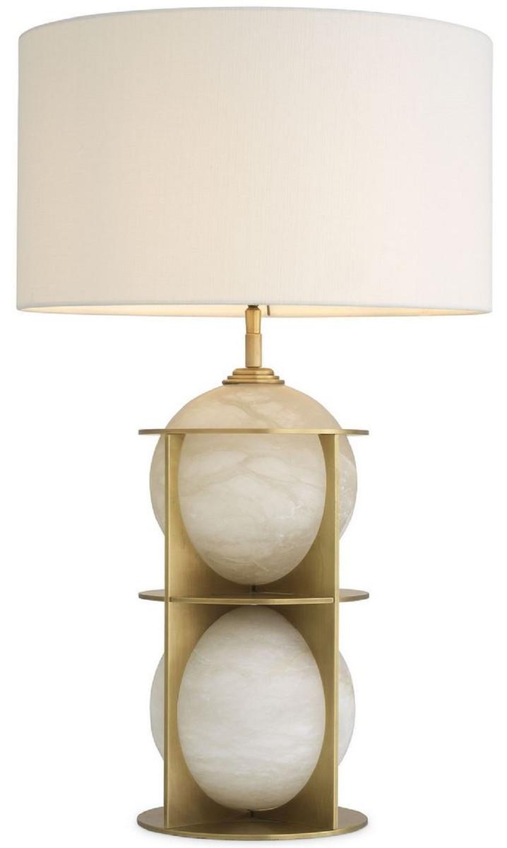 Casa Padrino Lampada Da Tavolo Di Lusso Ottone Antico Alabastro Bianco O 45 X A 75