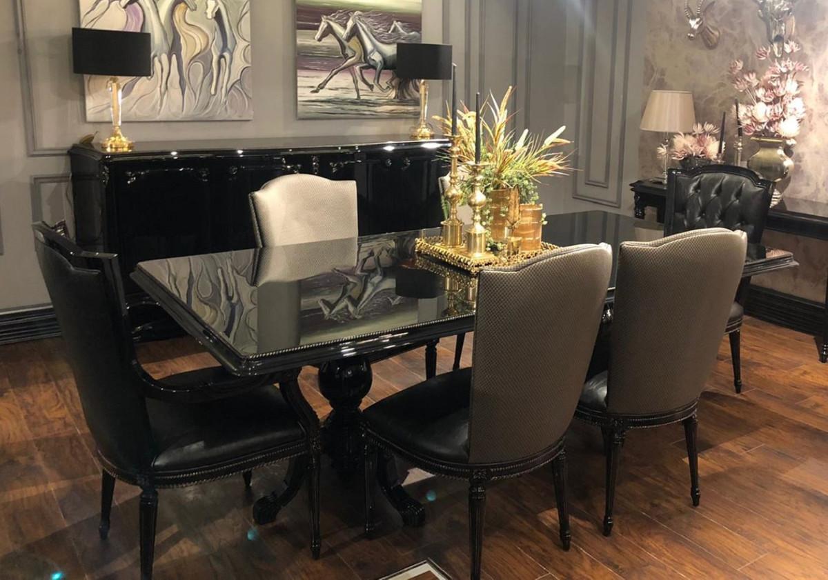 Casa Padrino Set Di Sedie Per Sala Da Pranzo Barocco Di Lusso Oro Nero Set Di 6 Sedie Da Cucina Mobili Per Sala Da Pranzo Barocco Nobile E Splendido Casa Padrino De