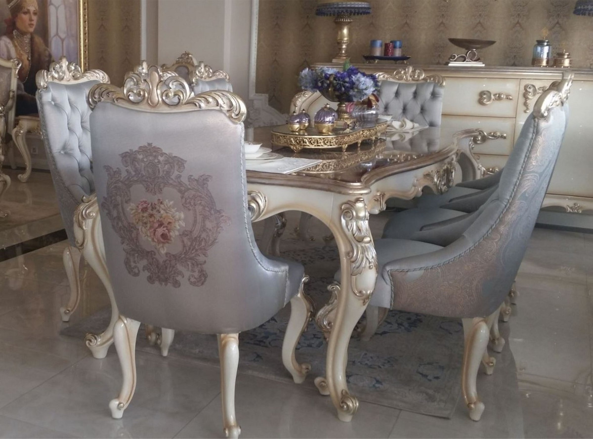 Casa Padrino luxury baroque dining chair set silver / cream / gold   9  Kitchen Chairs in Baroque Style   Baroque dining room furniture
