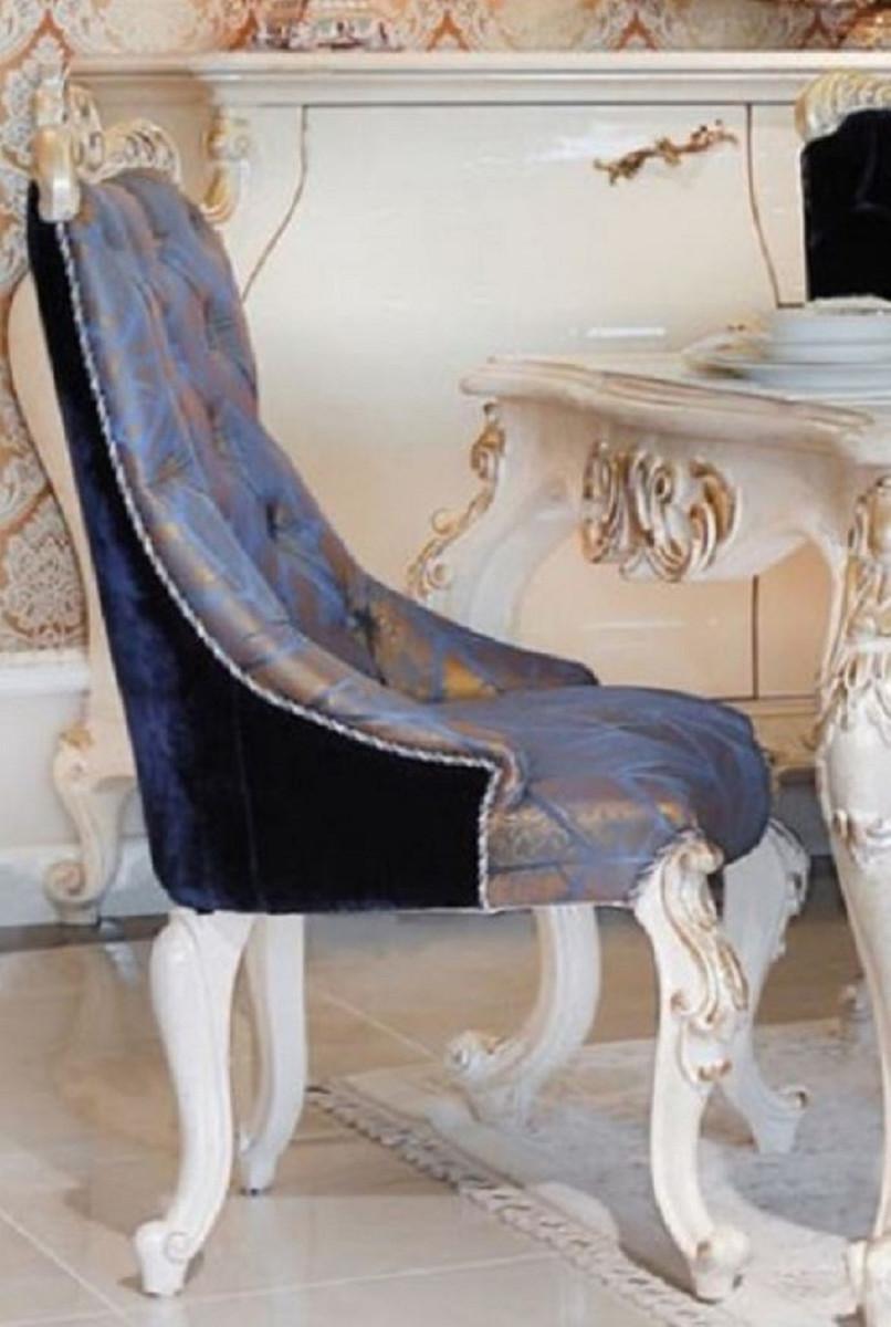 Casa Padrino Sedia Da Pranzo Barocco Di Lusso Blu Blu Scuro Bronzo Oro Sedia Da Cucina