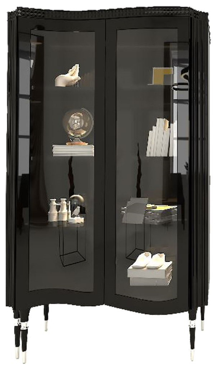 Casa Padrino Luxury Art Deco Display Cabinet Black / Silver   Handcrafted  Solid Wood Display Cabinet with 20 Glass Doors   Art Deco Living Room ...