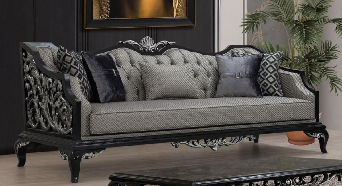 Casa Padrino Luxury Baroque Sofa Silver, Black Living Room Furniture