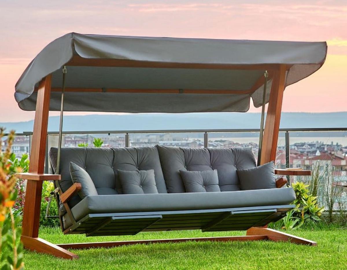 Casa Padrino Luxus Hollywood Schaukel Anthrazitgrau / Braun   Moderne  Wetterfeste Garten Schaukel mit Sonnendach   Garten Terrassen Hotel Möbel    ...
