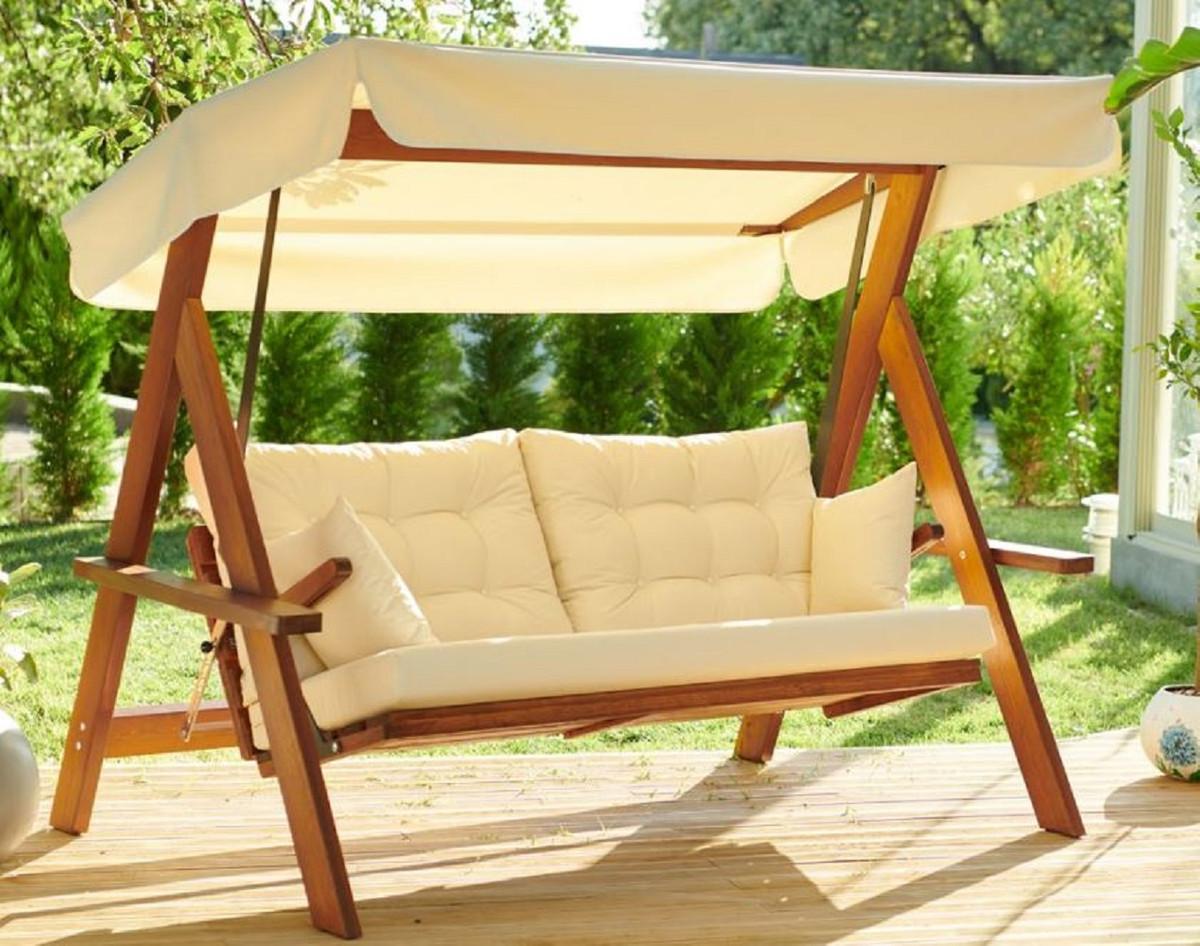 Casa Padrino Luxus Hollywood Schaukel Cremefarben / Braun   Moderne  Wetterfeste Garten Schaukel mit Sonnendach   Garten Terrassen Hotel Möbel    Luxus ...