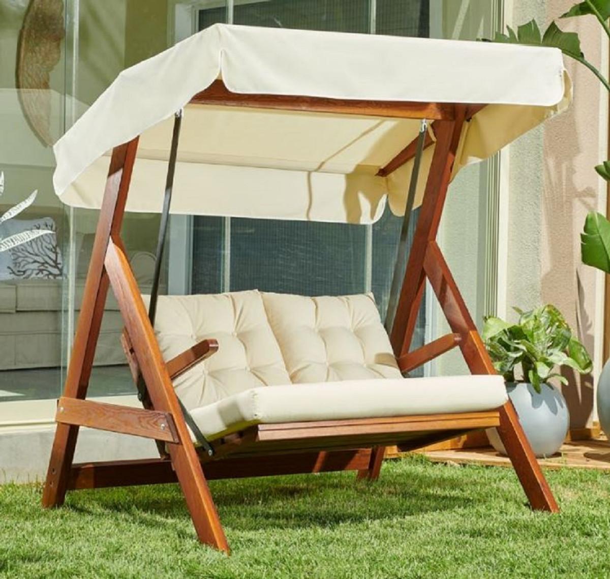Casa Padrino Luxus Hollywood Schaukel Cremefarben / Braun   Moderne  Wetterfeste Garten Schaukel mit Sonnendach   Terrassen Möbel   Garten Möbel