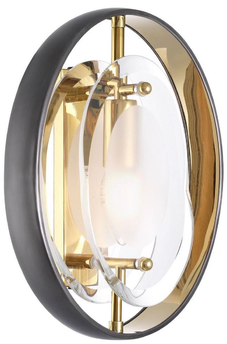 Casa Padrino Luxus Wandleuchte Schwarz / Gold 22,5 x 10 x H. 29,5 cm   Moderne Wandlampe   Luxus ...