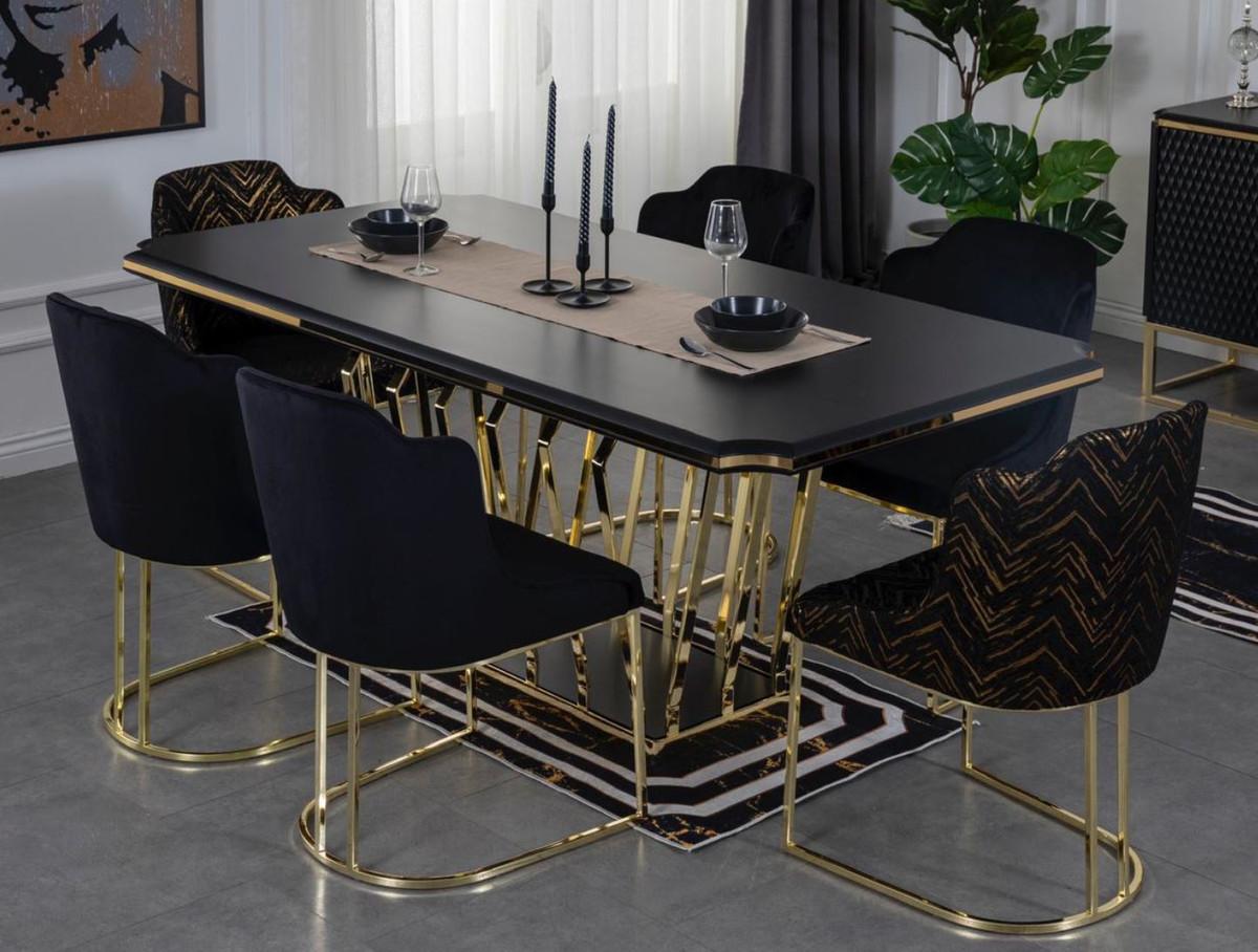Casa Padrino luxury dining room furniture set black / gold   9 Dining Room  Table & 9 Dining Chairs   Luxury Dining Room Furniture