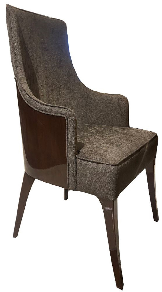 Casa Padrino Luxury Art Deco Dining Room Chair Set Dark Gray Dark Brown High Gloss Kitchen Chairs Set Of 6 Noble Art Deco Dining Room Furniture