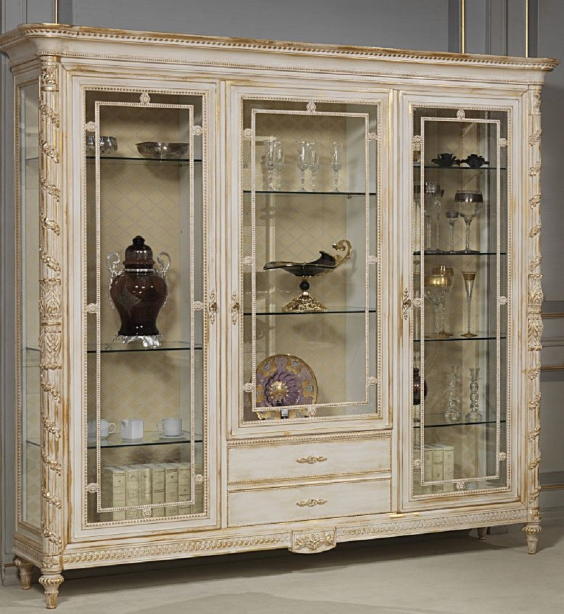 Casa Padrino Luxury Baroque Display Cabinet White / Gold   Noble Solid Wood  Showcase with 200 Glass Doors and 20 Drawers   Hotel Furniture   Castle ...