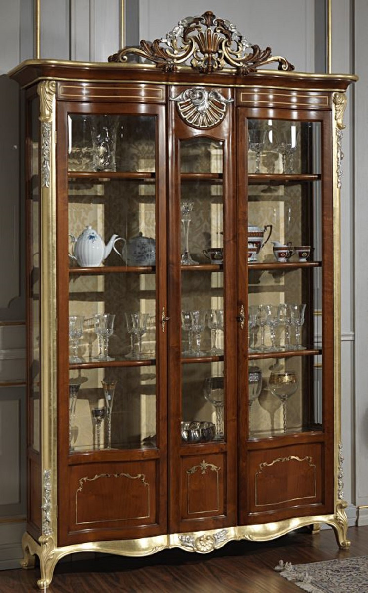 Casa Padrino luxury baroque display cabinet brown / gold / silver   Noble  solid wood display cabinet with 20 doors   Hotel Furniture   Castle  Furniture ...