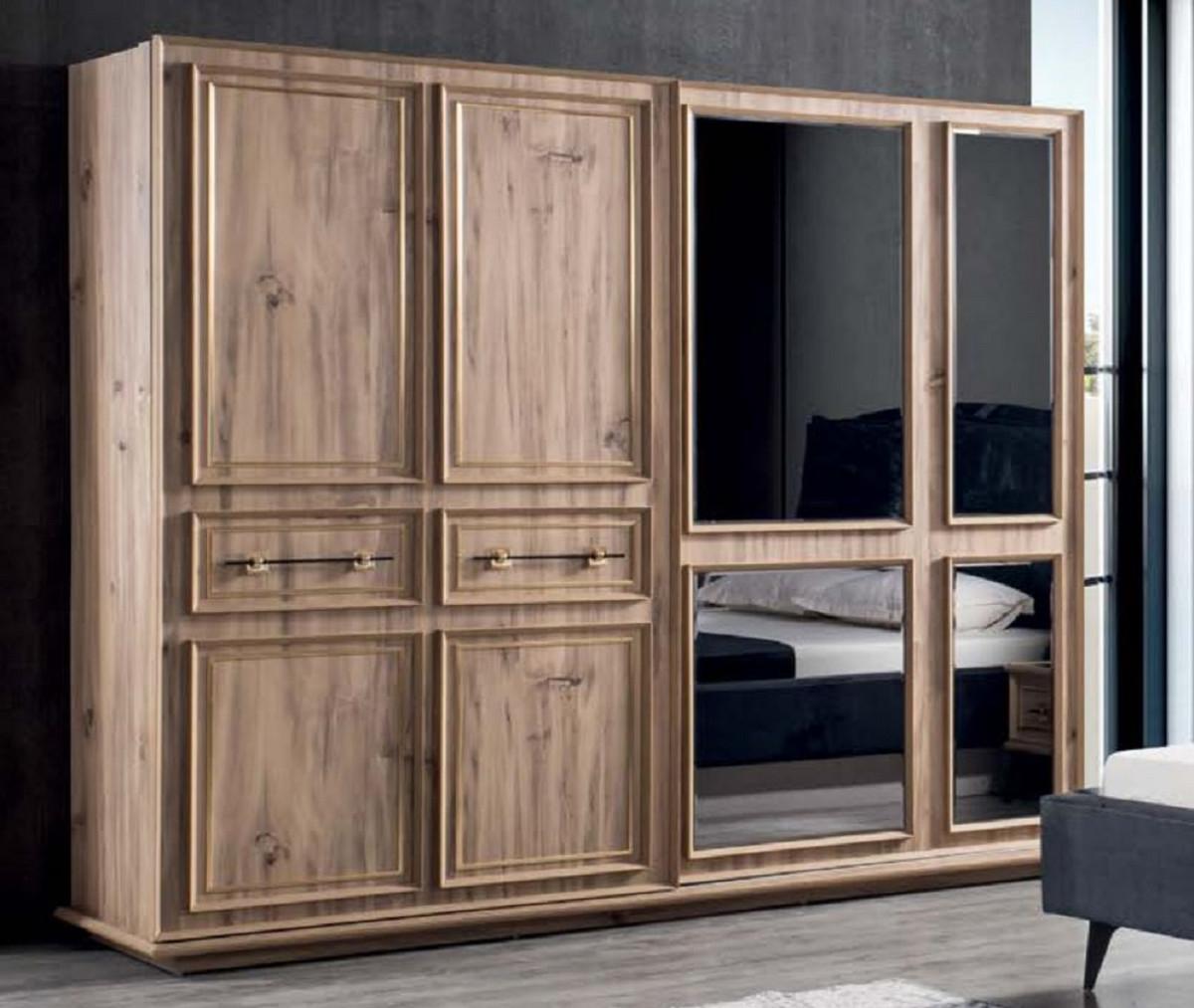 Casa Padrino Luxury Bedroom Cabinet Brown 262 X 72 X H 216 Cm Modern Solid Wood Wardrobe With 2 Sliding Doors Luxury Bedroom Furniture