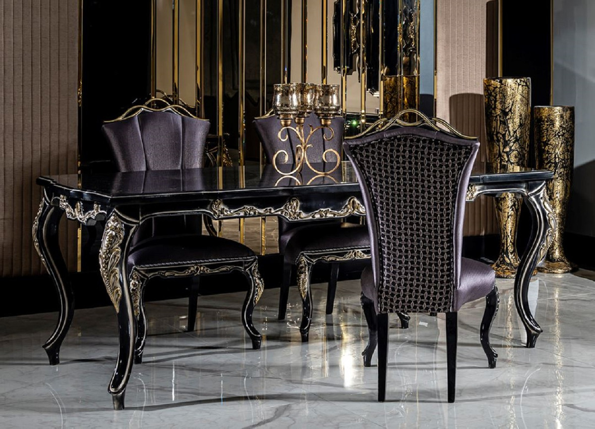 Casa Padrino Luxury Baroque Dining Room, Black Dining Table Chairs Set Of 6