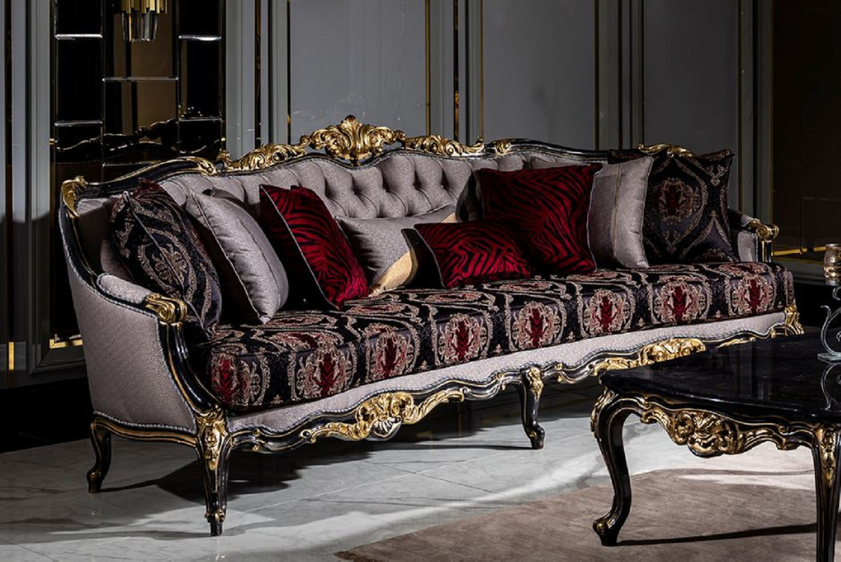 Casa Padrino Luxury Baroque Sofa Silver Bordeaux Red Black Gold Handmade Living Room Sofa With Elegant Pattern And Decorative Pillows Living Room Furniture In Baroque Style