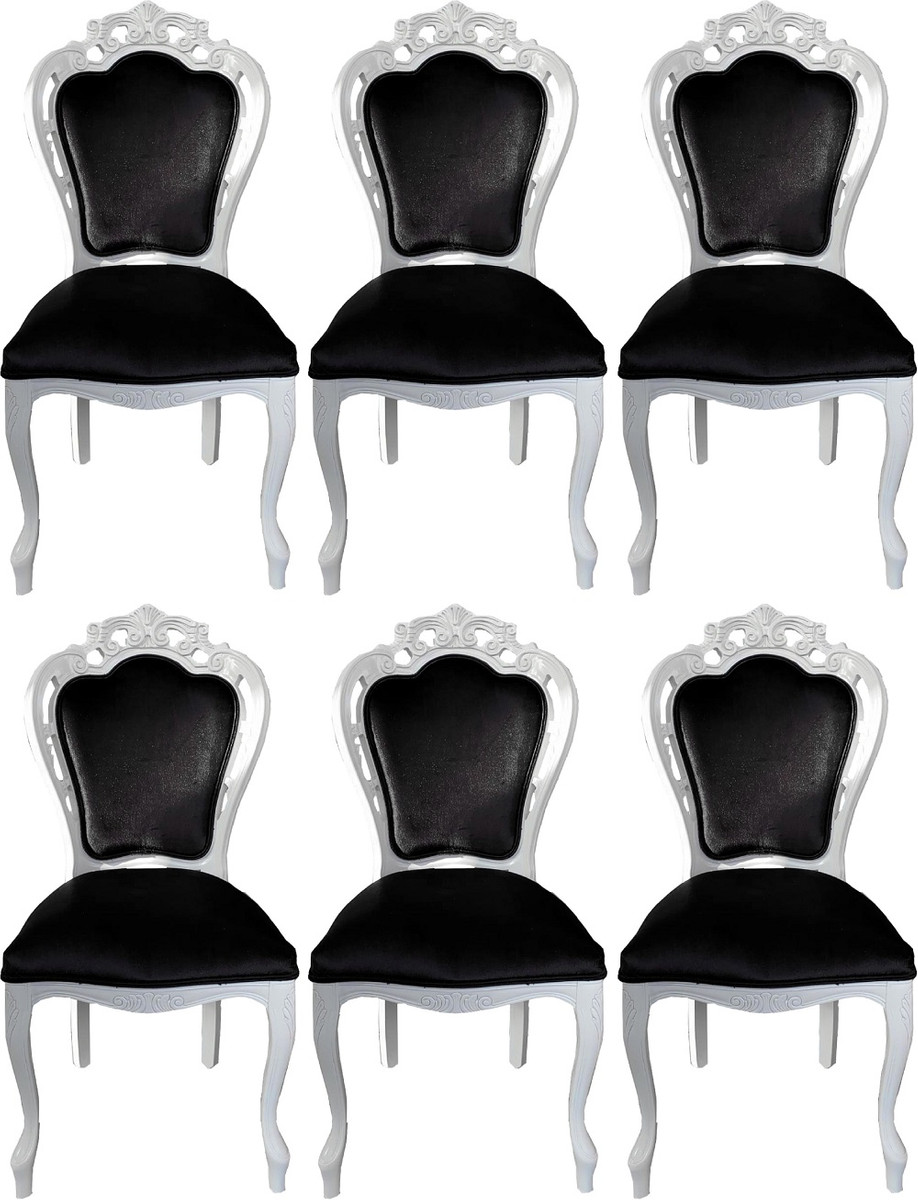 Handmade Solid Wood Kitchen Chairs With, Dining Room Chairs Set Of 6 Black And White