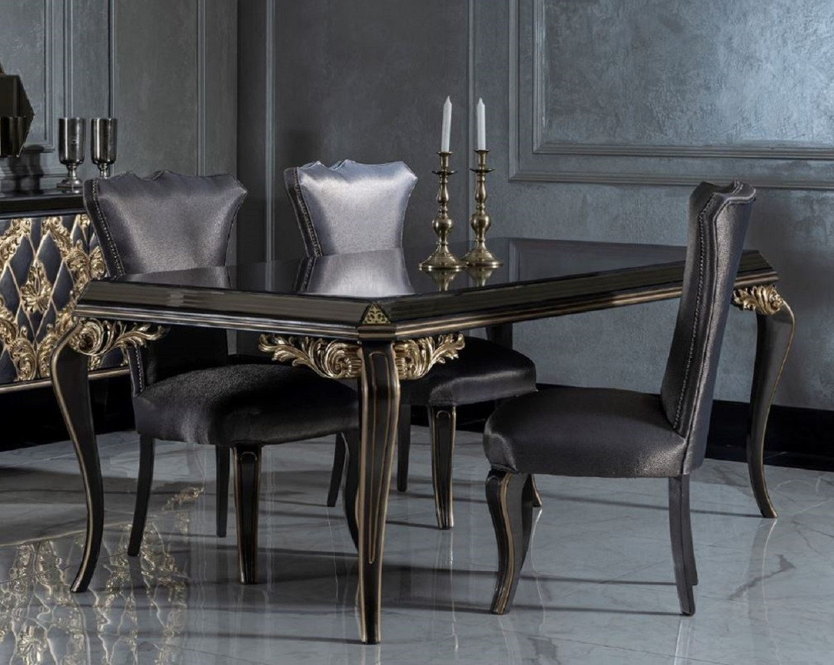 Casa Padrino luxury baroque dining room set blue / black / gold   9 Dining  Table with Glass Top & 9 Dining Chairs   Noble dining room furniture in ...