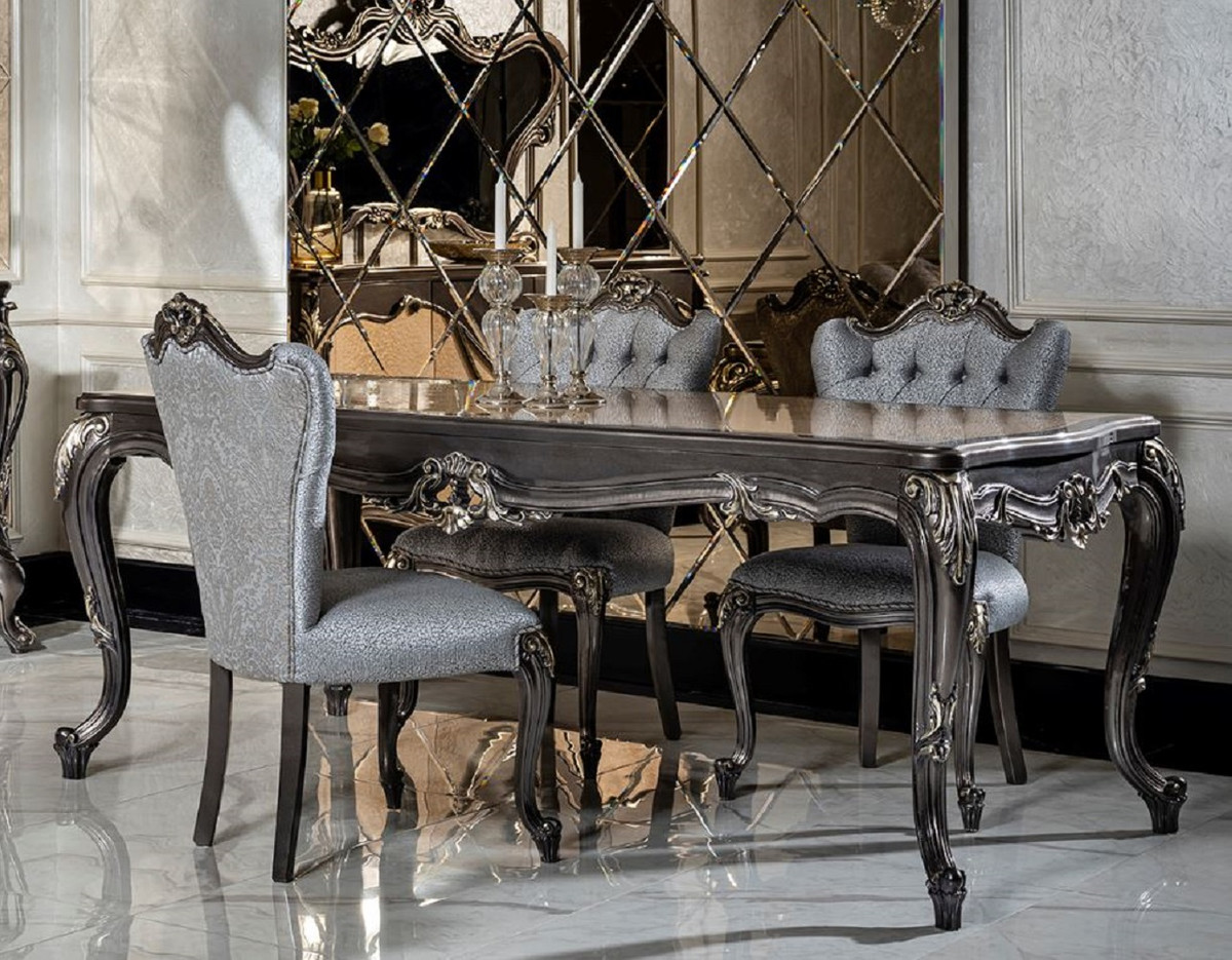 Casa Padrino luxury baroque dining room set light blue / dark gray   9  Dining Table & 9 Dining Chairs   Noble dining room furniture in baroque  style