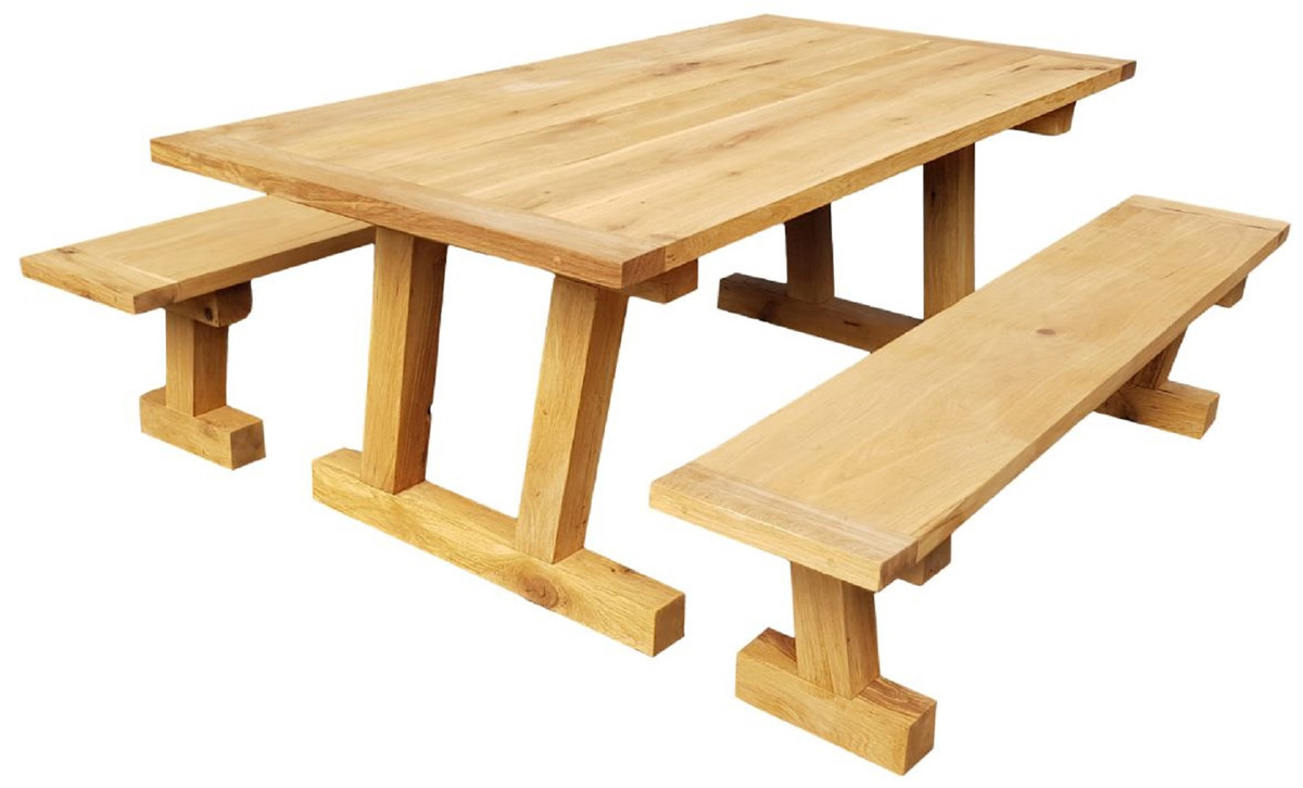 Casa Padrino solid wood dining room set natural   Oak Dining Table with 9  Benches   Dining room furniture   Restaurant furniture   Solid oak  furniture ...