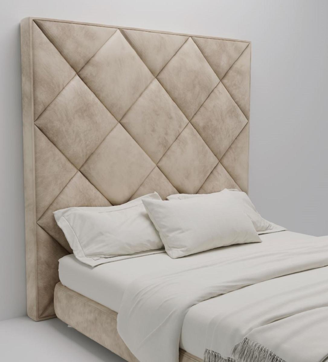 Casa Padrino Luxury Velvet Bed Headboard Beige 190 X 14 X H 240 Cm Bedroom Furniture Hotel Furniture Luxury Quality