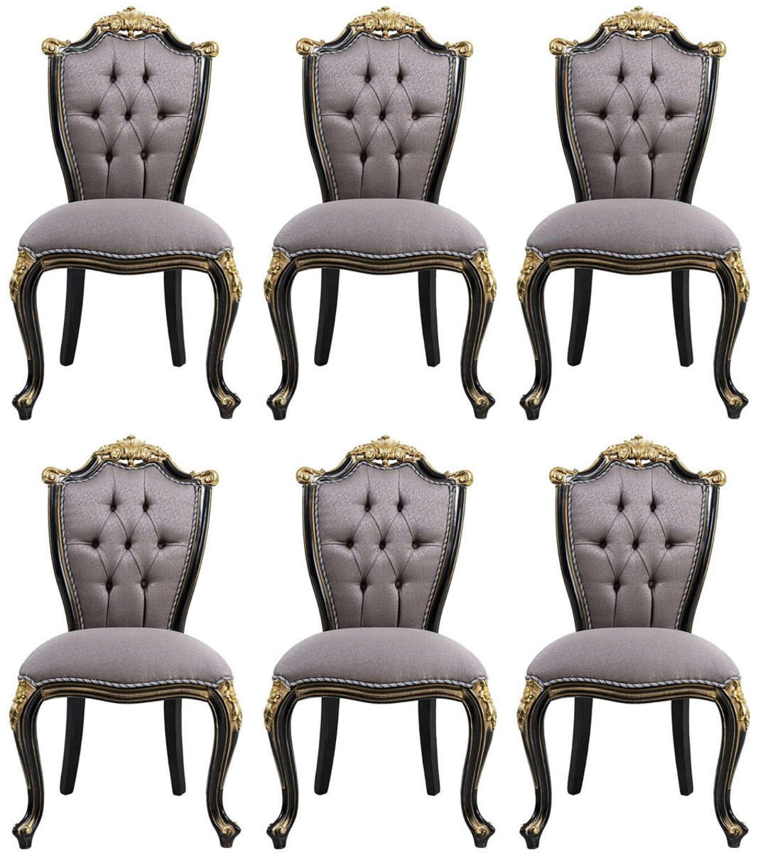 Casa Padrino Luxury Baroque Dining Chair Set Silver / Black / Gold    Handmade Kitchen Chairs Set of 9   Baroque Dining Room Furniture   Noble &  ...