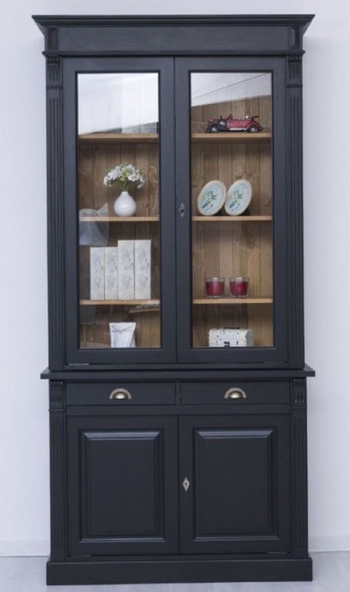 Casa Padrino country style display cabinet black / natural 20 x ...