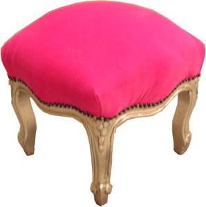 Casa Padrino Barock Fußhocker Pink / Silber