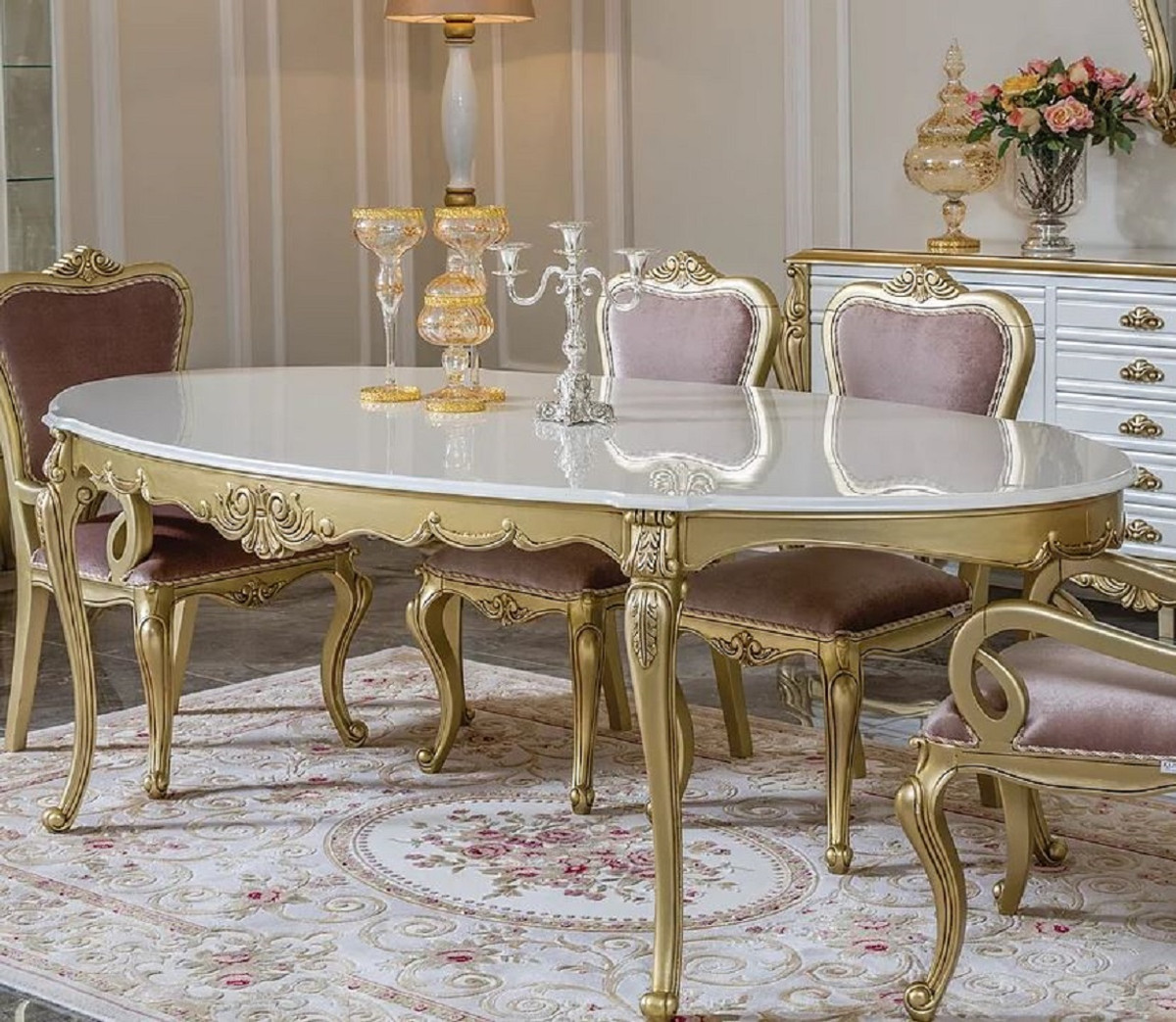 Oval Solid Wood Dining Room Table, Gold Dining Room Sets