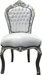 Casa Padrino Baroque dining room chair white / silver - antique style furniture