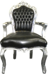 Baroque dining room chair black / silver leather look with armrests