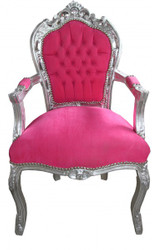 Casa Padrino Baroque Dinner Chair Pink / Silver with armrest