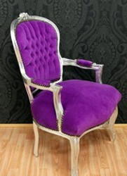 Baroque Salon Chair Purple / Silver