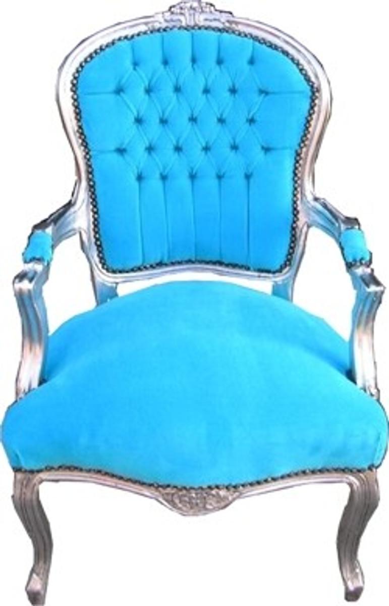 barock salon stuhl t rkis silber st hle barock st hle salon st hle mod1. Black Bedroom Furniture Sets. Home Design Ideas