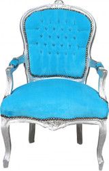Baroque salon chair turquoise / silver