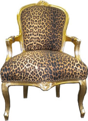 Baroque salon chair leopard / gold