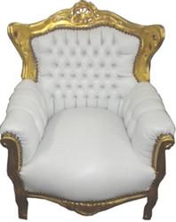 Barock Kinder Sessel Weiß/Gold - Tron