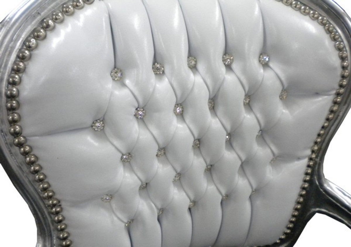 Casa Padrino Barock Salon Stuhl Weiß / Schwarz Bling Bling 2