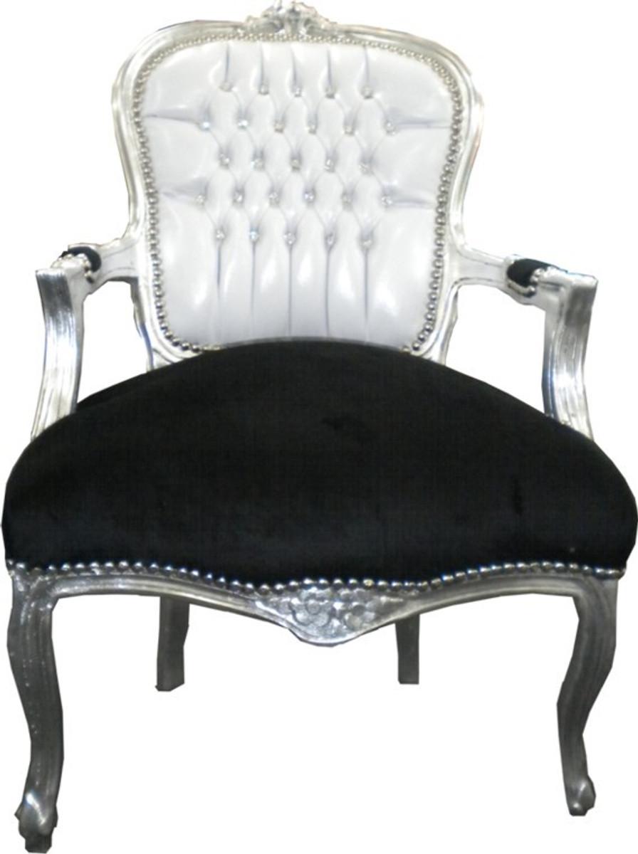 Casa Padrino Barock Salon Stuhl Weiß / Schwarz Bling Bling 1