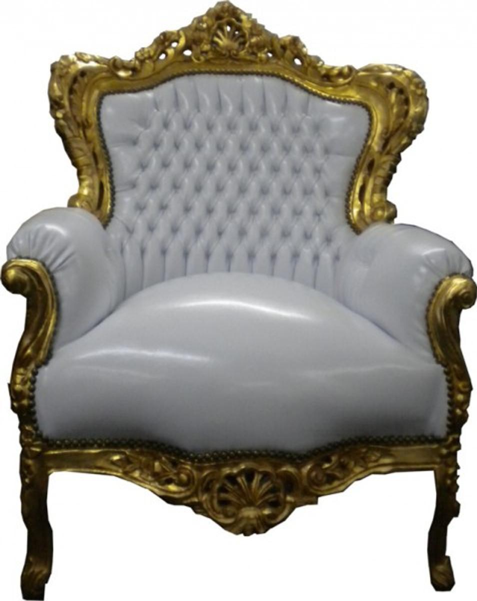 barock sessel king wei gold lederoptik sessel barock sessel king. Black Bedroom Furniture Sets. Home Design Ideas