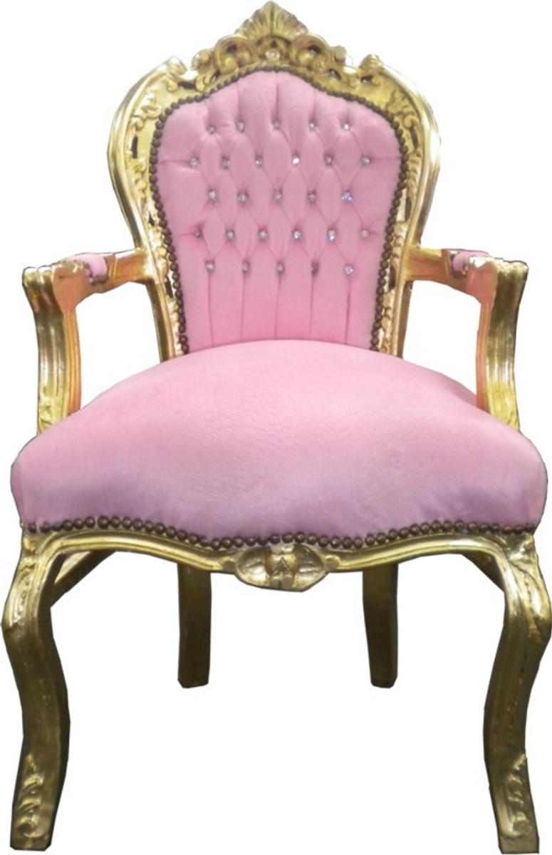 Astonishing Casa Padrino Baroque Dining Chair Pink Gold With Bling Bling Glittering Uwap Interior Chair Design Uwaporg
